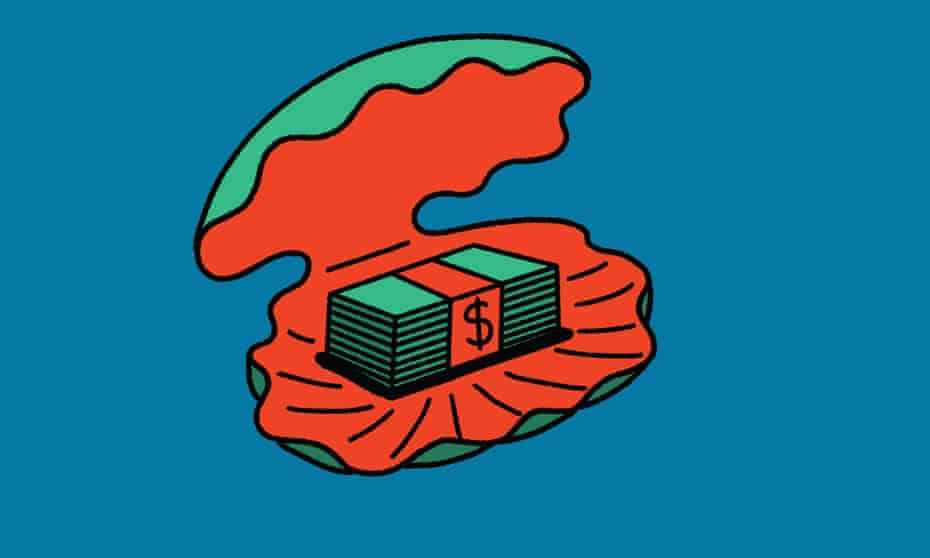 illustration: a clam shell with wads of cash inside it