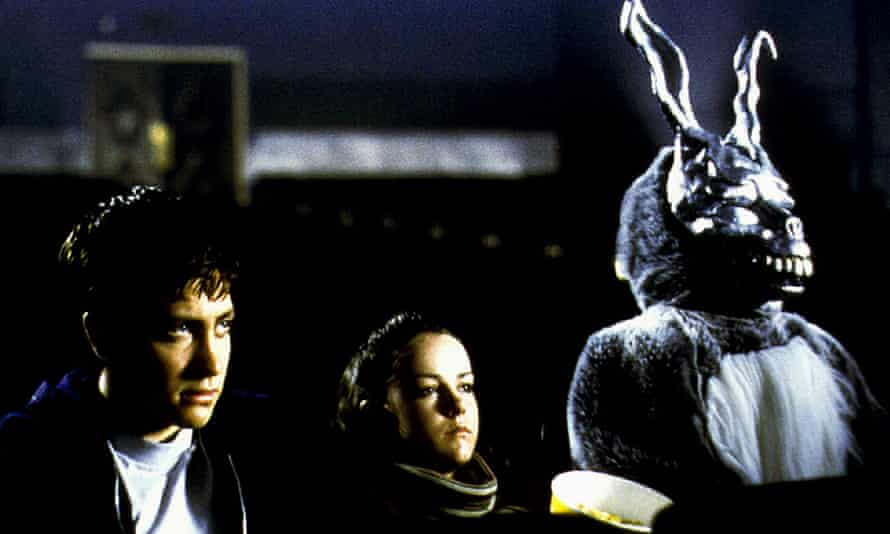 To be Frank ... Jake Gyllenhaal, Jena Malone and Frank in Donnie Darko.