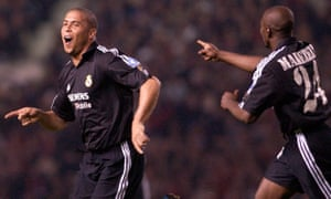 Ronaldo celebrates his hat-trick for Real Madrid against Manchester United.