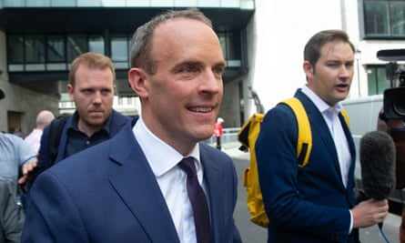 Dominic Raab leaves the BBC studios in central London earlier this week.