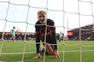 Grassroots action: David Brooks of Bournemouth finds himself in the net during Bournemouth's 2-1 defeat on home soil to Arsenal