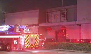 A video still shows a fire engine outside the Chinese consulate in Houston