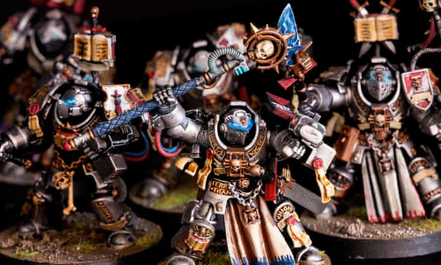The Grey Knight Terminator army battle group, part of Games Workshop hand-painted Warhammer 40,000 miniature figures series.