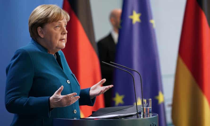 Angela Merkel addresses the media at a press conference
