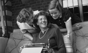 Enid Blyton with her daughters at home in Buckinghamshire, 1949.