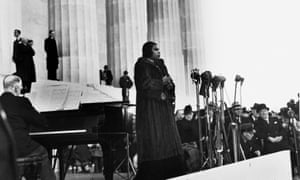 Marian Anderson performs on the steps of the Lincoln Memorial on April 9, 1939.