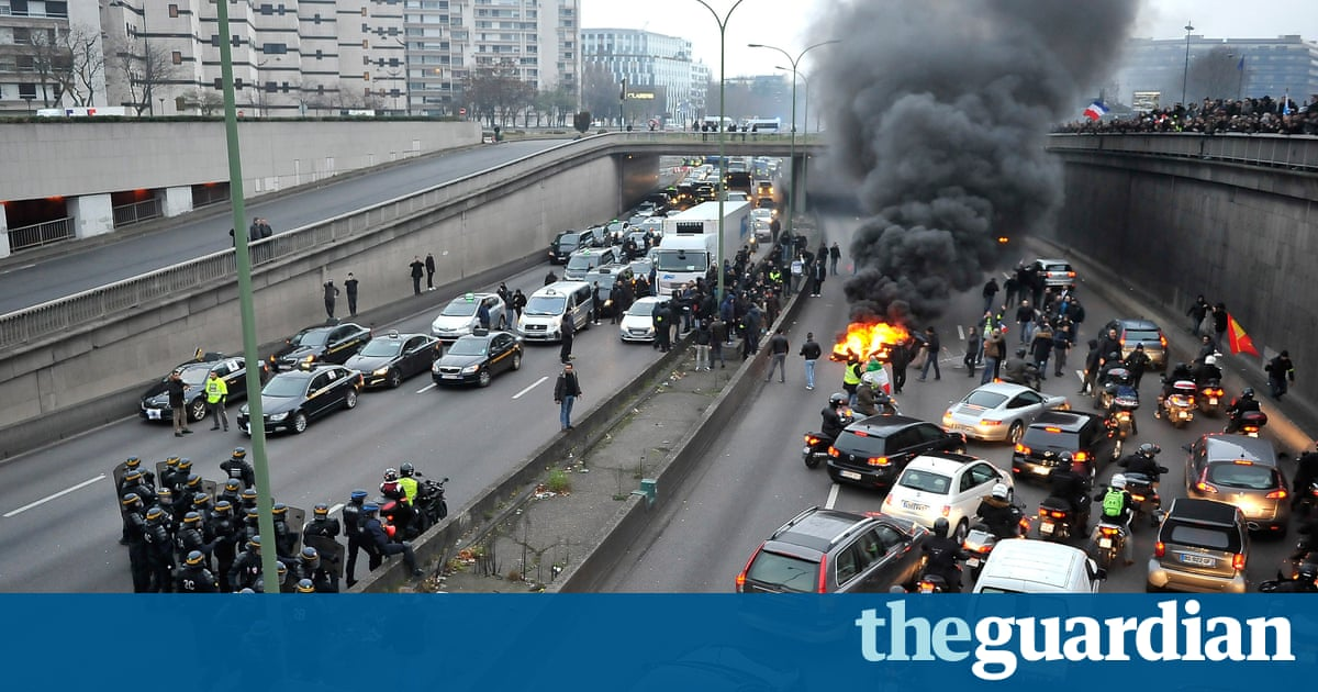 france hit by day of protest as security forces fire teargas at taxi strike world news the. Black Bedroom Furniture Sets. Home Design Ideas