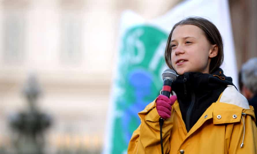 Swedish climate activist Greta Thunberg delivers a speech during the Friday for Future strike on climate emergency, in Turin in December.
