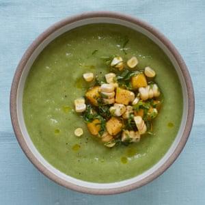 Gena Hamshaw's cucumber and avocado soup with mango salsa.