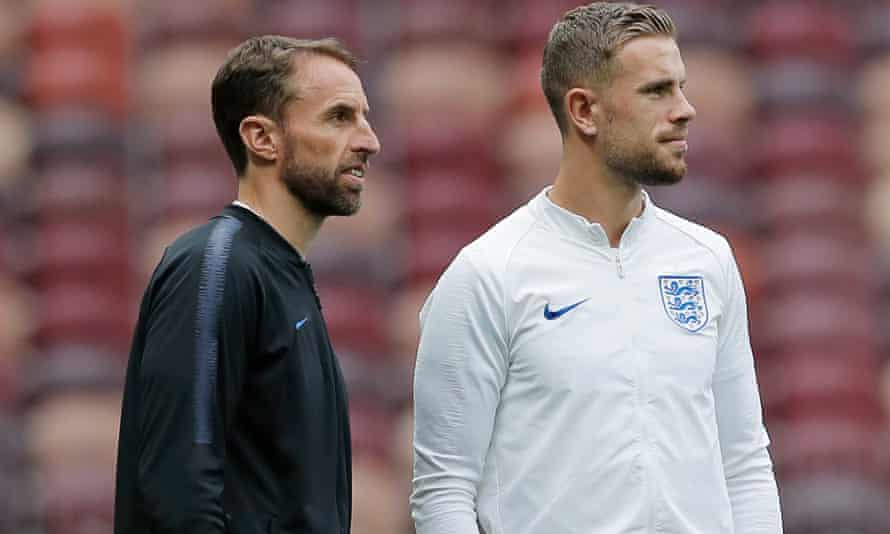 Gareth Southgate, pictured alongside Jordan Henderson at the Luzhniki Stadium, says his young side have been 'brilliant ambassadors' for England.