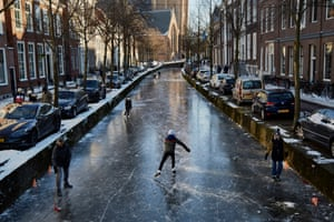 Delft, NetherlandsPeople enjoy the frozen canals. Parts of central and northern Europe and Britain have experienced extremely cold weather this week