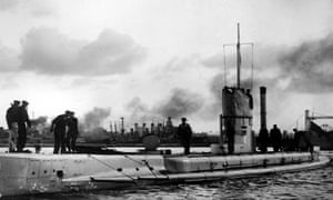 A German U-boat that saw service during the first world war, somewhere in Europe, 1914.