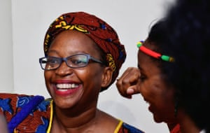 Stella Nyanzi smiles after her conviction and jail term were quashed at a hearing in Kampala, Uganda