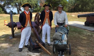 Bart Smith with re-enactors and cannon at Yorktown