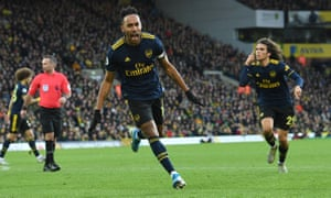 Pierre-Emerick Aubameyang celebrates scoring his and Arsenal's second goal during the 2-2 draw against Norwich City at Carrow Road.