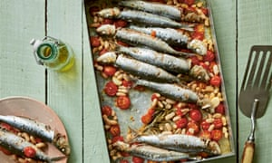 Roast sardines and beans by Rebecca Seal from Leon Happy One-Pot Cooking.