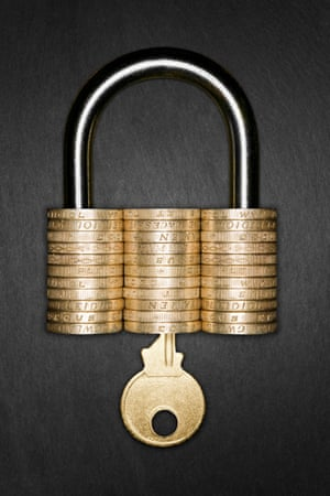 Padlock made from pound coins