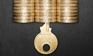 A key and some pound coins