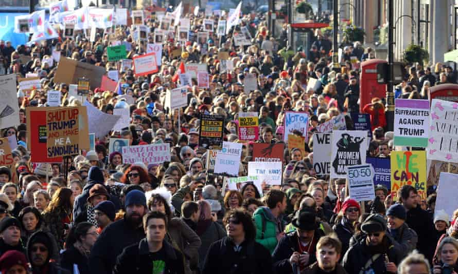 A march from the US Embassy to a rally in Trafalgar Square on the day after Donald Trump's inauguration.