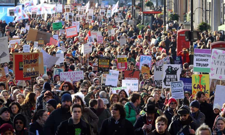 Protesters march in London after Donald Trump's inauguration.