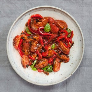 April Bloomfield's roasted tomatoes with marinated roasted peppers.