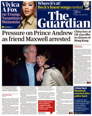 Guardian front page, Friday July 3, 2020