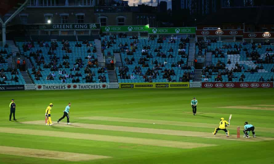 A socially-distanced crowd watches Surrey take on  Hampshire in the T20 Blast at the Oval last week
