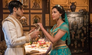 Mena Massoud as Aladdin and Naomi Scott as Jasmine.