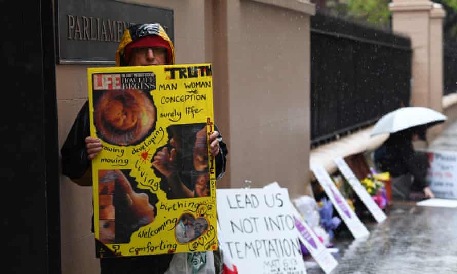 An anti-abortion protester outside NSW parliament