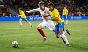 David Neres ghosts past Martin Frydek during Brazil's 3-1 win over the Czech Republic in Prague.