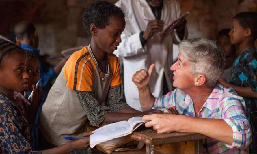A volunteer teacher in Ethiopia.