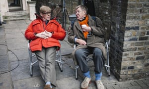 Aan Bennett, right, with Alex Jennings during the filming of The Lady in the Van.