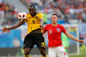 Romelu Lukaku chests the ball as he and his team-mates continue to dominate.