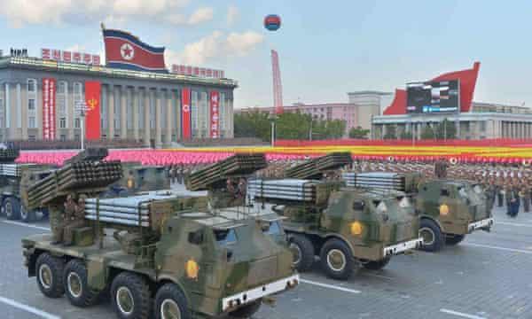 A mass military parade in Pyongyang, North Korea
