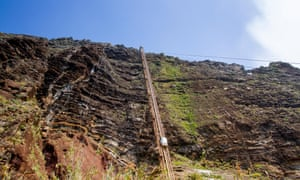 The glass elevator that rides to the coast now has competition from a new cable car. A glass elevator descends to the cliff bottom at Madeira's Fajã dos Padres