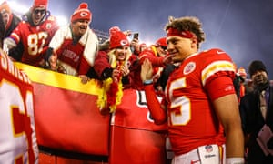Patrick Mahomes greets fans after a playoff win last month