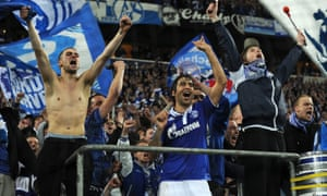 Raúl, centre, celebrates with Schalke supporters after a victory over Internazionale in 2011
