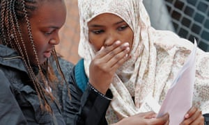 Students look at their A-level results at the Harris Academy in Crystal Palace, south London