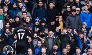 Everton fans in the Gwladys Street End react to the former Liverpool player Christian Benteke after he scored Crystal Palace's equaliser