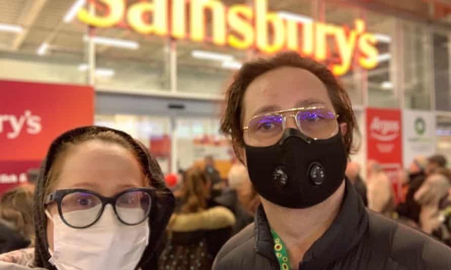 Blair Barnette and her husband at Sainsbury's in Whitechapel, east London