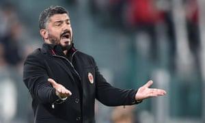 Milan's head coach, Gennaro Gattuso, gestures during the defeat by Juventus.