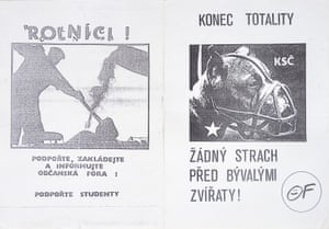 20 November 1989: Leaflets distributed by the anti-communist, pro-Havel Civic Forum group. The leaflet on the right reads, 'End totalitarianism'