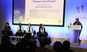 Women and climate event at the Paris climate summit: film director Marie-Monique Robin, Winnie Byanyima, Mary Robinson, French minister Ségolène Royal, Vandana Shiva