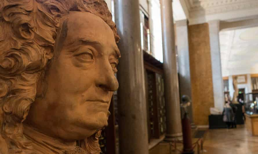 The bust of Sir Hans Sloane before its removal to a secure cabinet. His collection was partly funded from slave labour on Jamaican sugar plantations.
