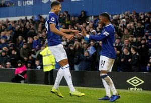 Dominic Calvert-Lewin celebrates with Ademola Lookman after making the result safe.