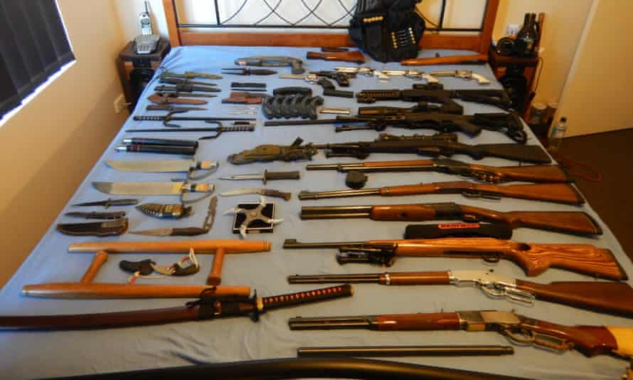 Weapons seized by the Australian Border Force at a property in Queensland.