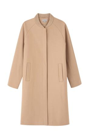 Camel bomber-collar coat