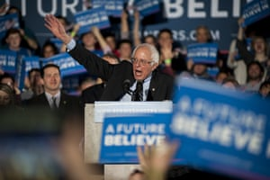 Bernie Sanders speaks during his victory speech at Concord High School in Concord, New Hampshire.