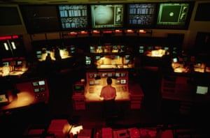 The mission control room near Pasadena, California
