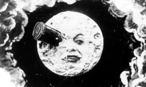 A still from Méliès's La Voyage dans la Lune (1902), considered the first science fiction film.
